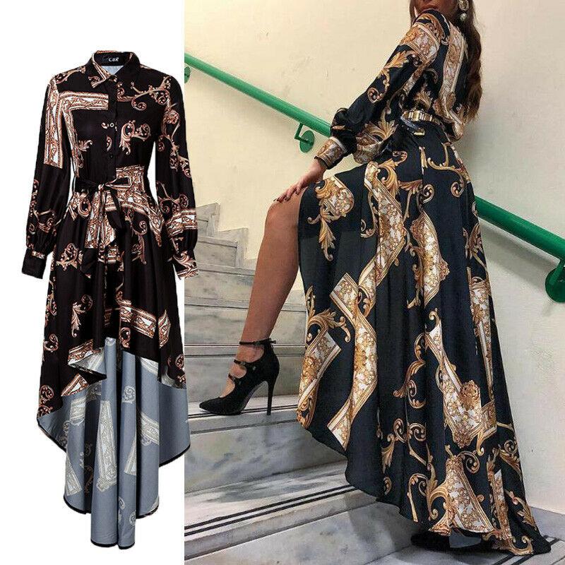 2019 Autumn Womens Maxi Baroque Print Lantern Sleeve Long Sleeve Button Bandage Elegant Dress Slit Evening Party Sun Dress