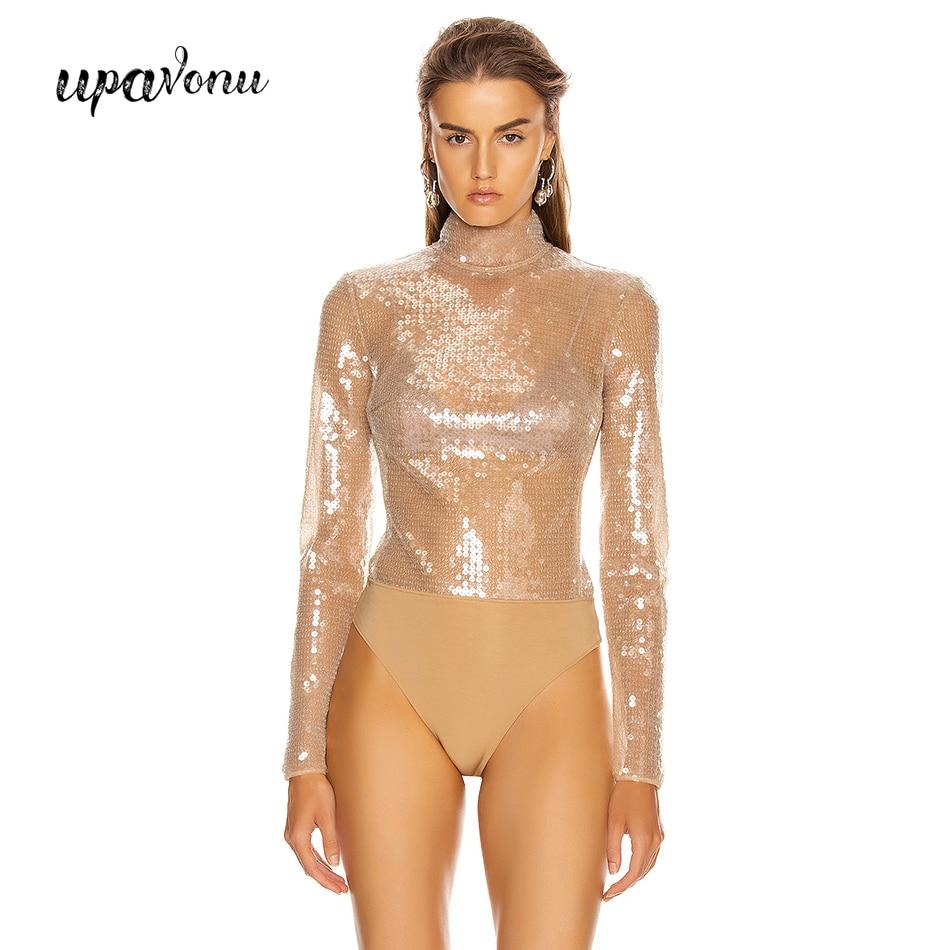 Fashionable Long-sleeved Sequins Without Pants  Bodysuit Women Sexy Turtleneck Mesh Patchwork Bodysuit Club Banquet Bodysuit