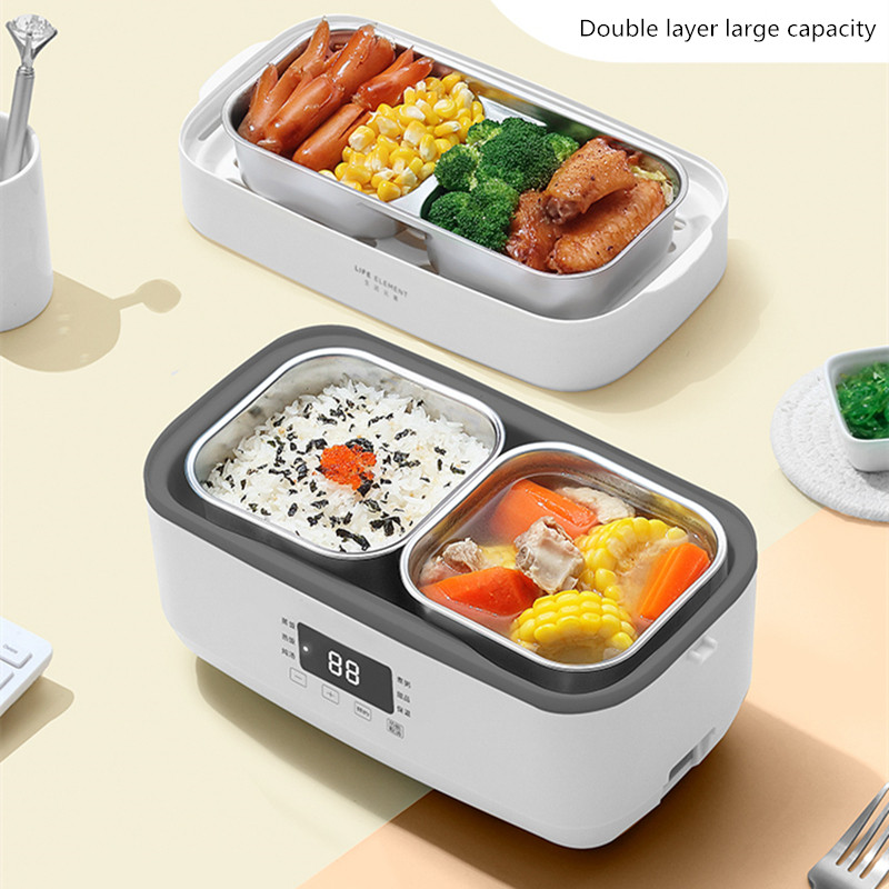 Image 2 - Double layer Electric Lunch Box Small Rice Cooker Automatic Heating Timing Insulation Mini Office Worker Double layer Cooking-in Rice Cookers from Home Appliances
