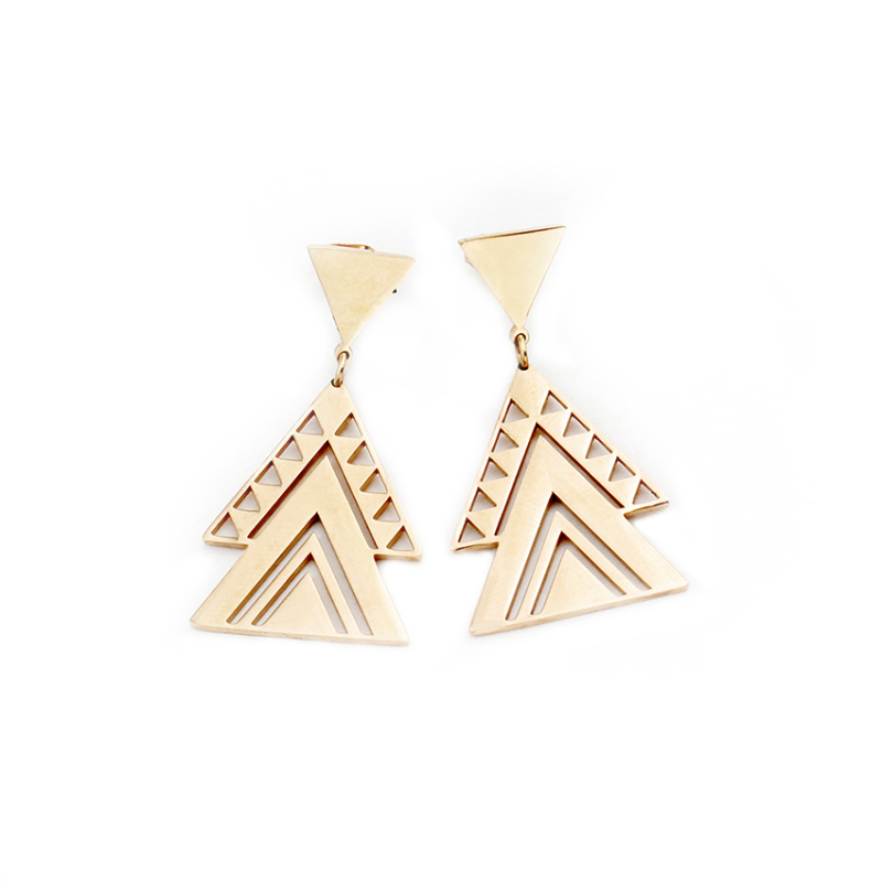 Hollow Tattoo Multiple Triangle Earrings For Women Stainless Steel Dainty Jewelry Accessories Dangle Brincos Bridesmaid Gifts in Stud Earrings from Jewelry Accessories