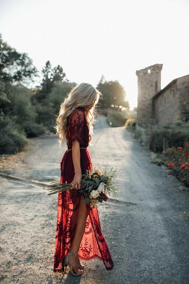 Винного цвета Глубокий v-образный вырез перспективная сетка пряжа цветы женское кружевное платье женское элегантное с коротким рукавом Макси длинное платье