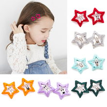 2pcs Girls Star Hair Clip All-inclusive Cloth Not Hurt Hair Cute Pentagram Star Clip Children Hairpin Styling Accessories Hot cheap Baby Girls dropship wholesale about 3g piece Fashion about 3 5cm