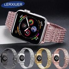 купить Lerxiuer Stainless steel Diamond strap For Apple watch band correa apple watch 42mm 38mm series 4 3 2 1 Link bracelet wrist belt по цене 1431.5 рублей
