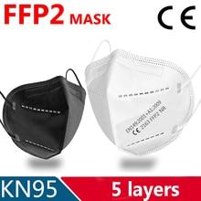 Mascarilla facial FFP2 KN95 de 5 capas, máscara filtrante, fp2, antipolvo, antiniebla, transpirable, color negro
