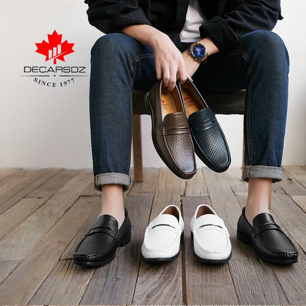 2020 yeni bahar ve yaz mokasen gündelik erkek ayakkabısı erkek marka deri Slip-On tekne ayakkabı adam moda erkek ayakkabıları erkek mokasen ayakkabıları