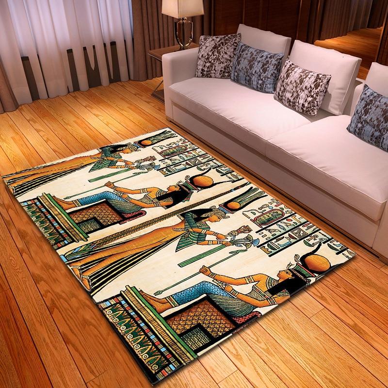 7 sortes egypte antique femmes imprimé tapis tapis pour maison salon chambre Table côté tapis tapete para sala alfombra