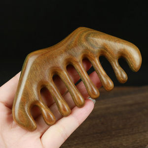 Green Sandalwood Massage Comb Wooden Wide Teeth Hairdressing Comb Head Meridian Massage Tool Anti Static Comb Massage & Scraping