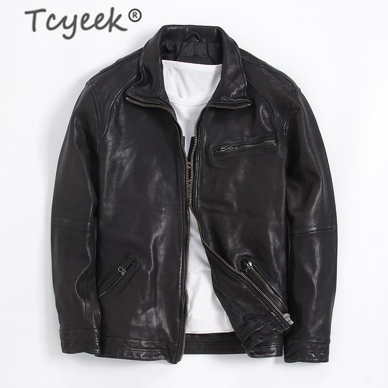 Tcyeek Fashion Plus Size 7XL Genuine Leather Jacket Men Winter Real Sheepskin Coat Streetwear Moto Biker Leather Jackets 7M-37