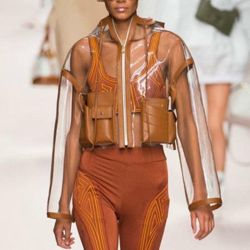 TVVOVVIN marron à manches longues à capuche grande poche court Transparent veste en cuir femme décontracté Simple mode 2019 automne nouveau X274