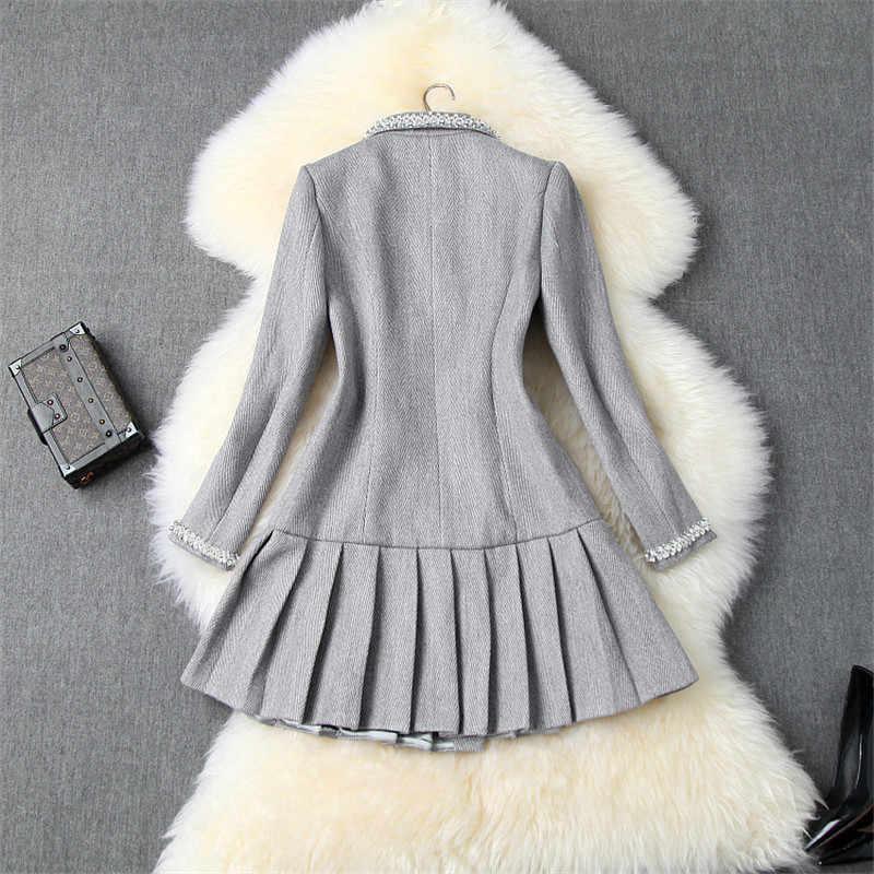 Haute qualité concepteur hiver robe de piste femmes 2019 col rabattu diamants de luxe à volants plissé robe en laine manteaux
