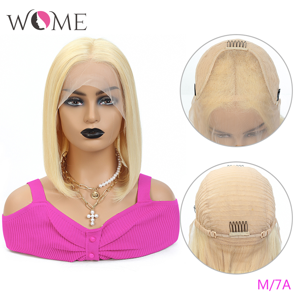 WOME Brazilian Straight Short Bob Wigs 613 Honey Blonde 13x4 Lace Front Human Hair Wigs For Women 150% Middle Ratio Remy Hair