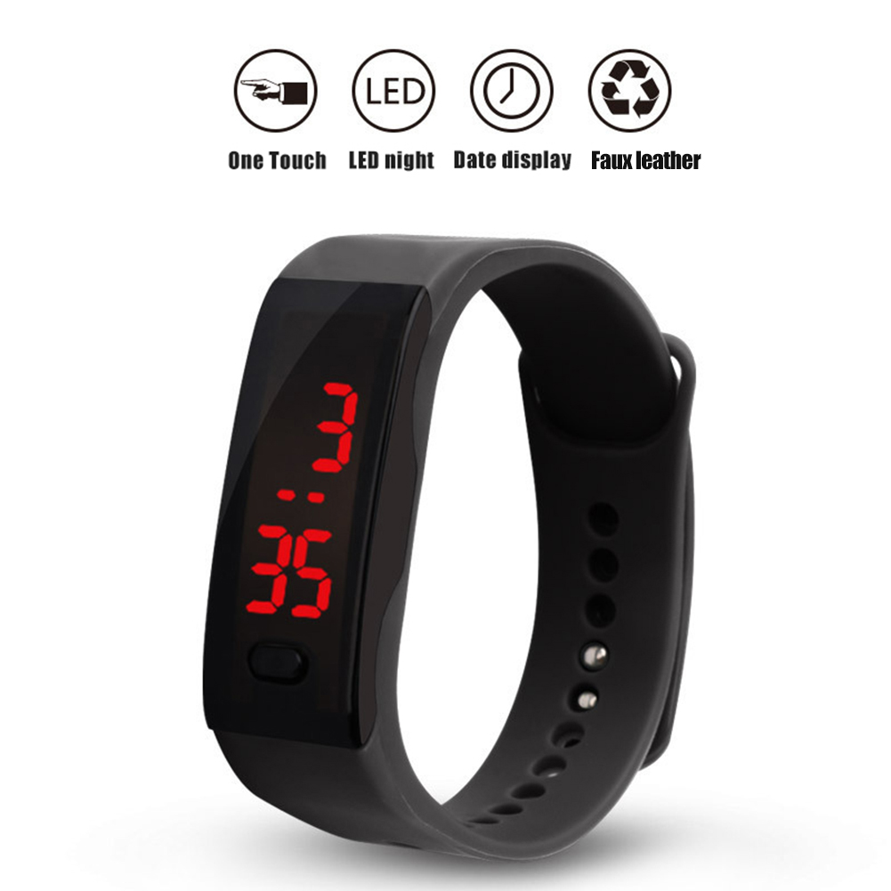 Kids Silicone Strap LED Display Electronic Digital Sports Bracelet Wrist Watch Montre Homme