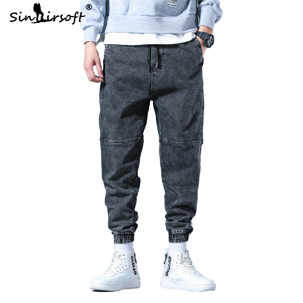 D.S Embroidery Men's Cargo Pants Loose Cotton High Street Ankle-length Small Foot Pencil Pants Male 2019 Autumn Trousers 28-42