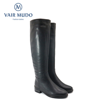 Shoes Black Vair Mudo Motorcycle-Boots Knee-High boots Low-Heels Winter Genuine ZT40