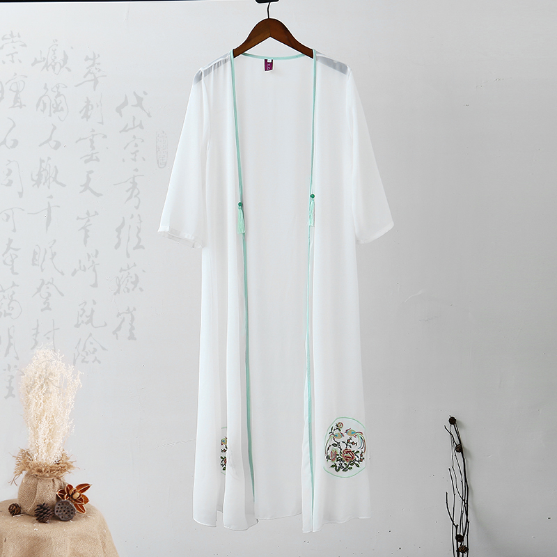 2020 Coat Female Coat Chinese Traditional Hanfu White Cloak Ancient China Cosplay Printed Long Robe Sunscreen Cardigan