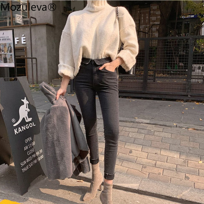 Mozuleva Spring Summer Stretch Flanging Denim Jeans Women Jeggings Tassel High Waist Pants Capris Female Skinny Pencil Jean 2019