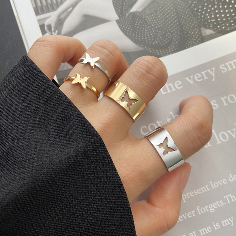 Trendy Gold Butterfly Rings For Women Men Lover Couple Rings Set Friendship Engagement Wedding Open Rings 2021 Jewelry