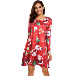 S-5XL Plus Size Christmas Day O Neck Long Sleeve Deer Snow Man Print Dress Women Clothes Casual Loose Knee Length Party Dresses 3
