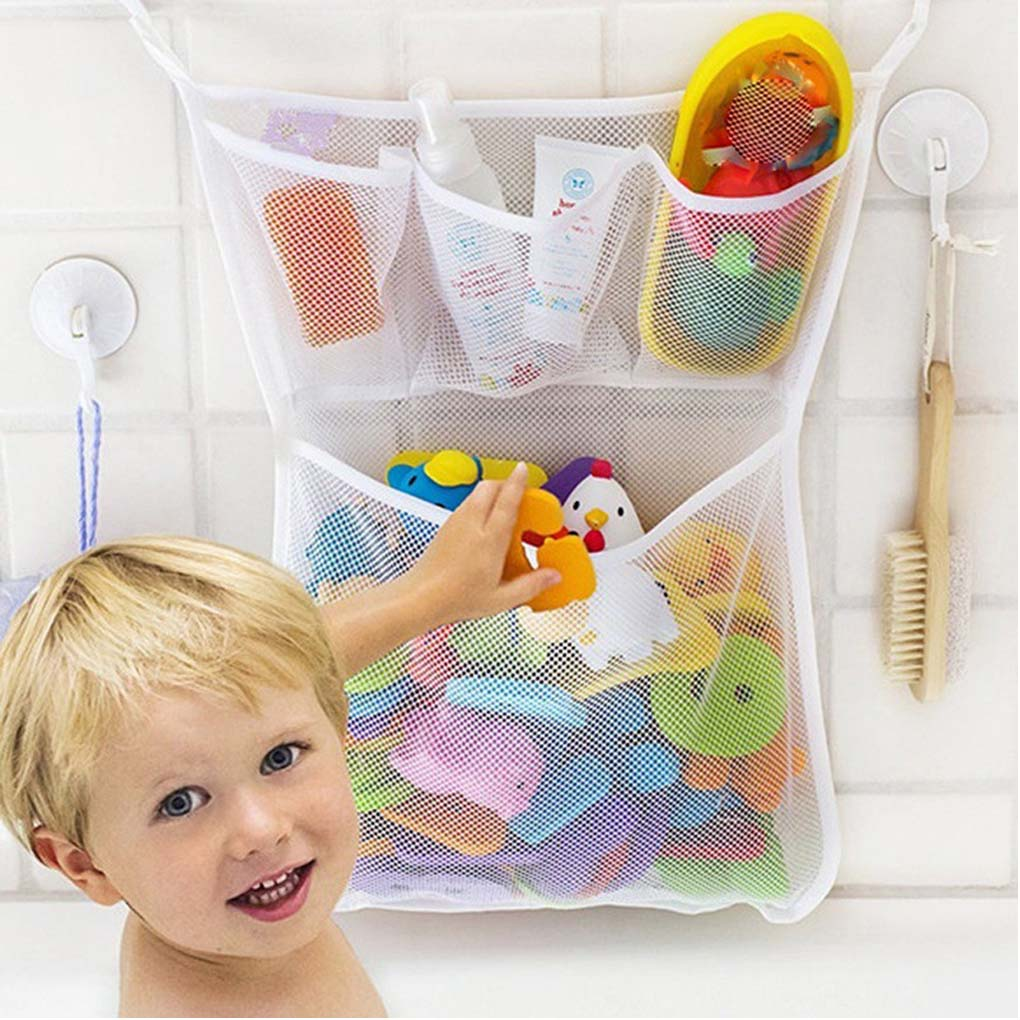 High Quality 1PC Bathroom Mesh Baby Child Toys Storage Bag 3 Small 1 Big Lattice Suction Cup Baskets Organizer Bags 33*45cm