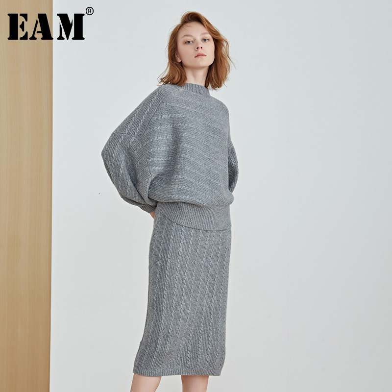 [EAM] Half-body Skirt Knitting Two Pieces Suit New Round Neck Puff Sleeve Black Loose Women Fashion Spring Autumn 2019 1K200