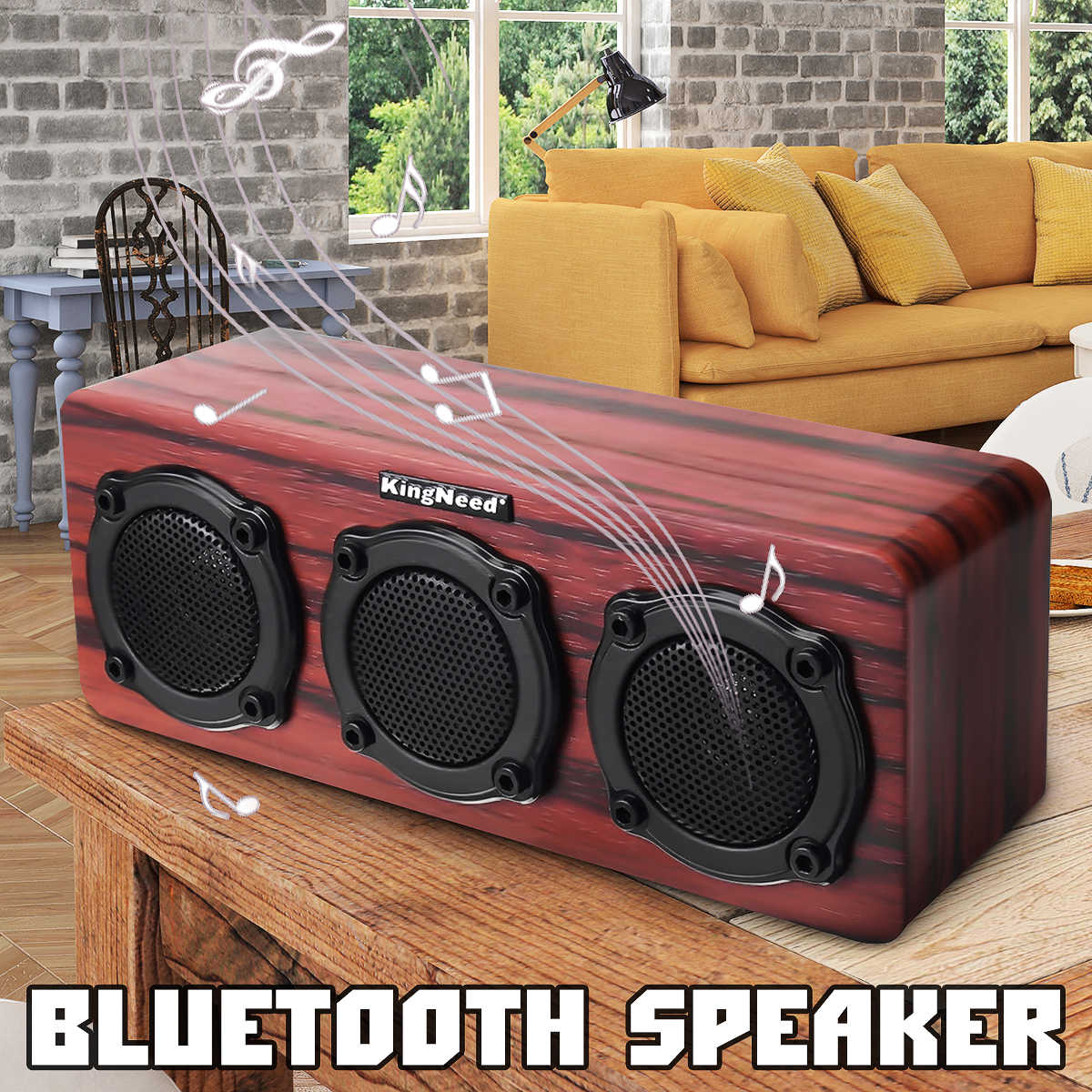 60db Suara Kayu Blurtooth Luar Ruangan Portabel Speaker HI FI Wireless Bass Studio Stereo 2 Ster Speaker 1 Getaran Membran