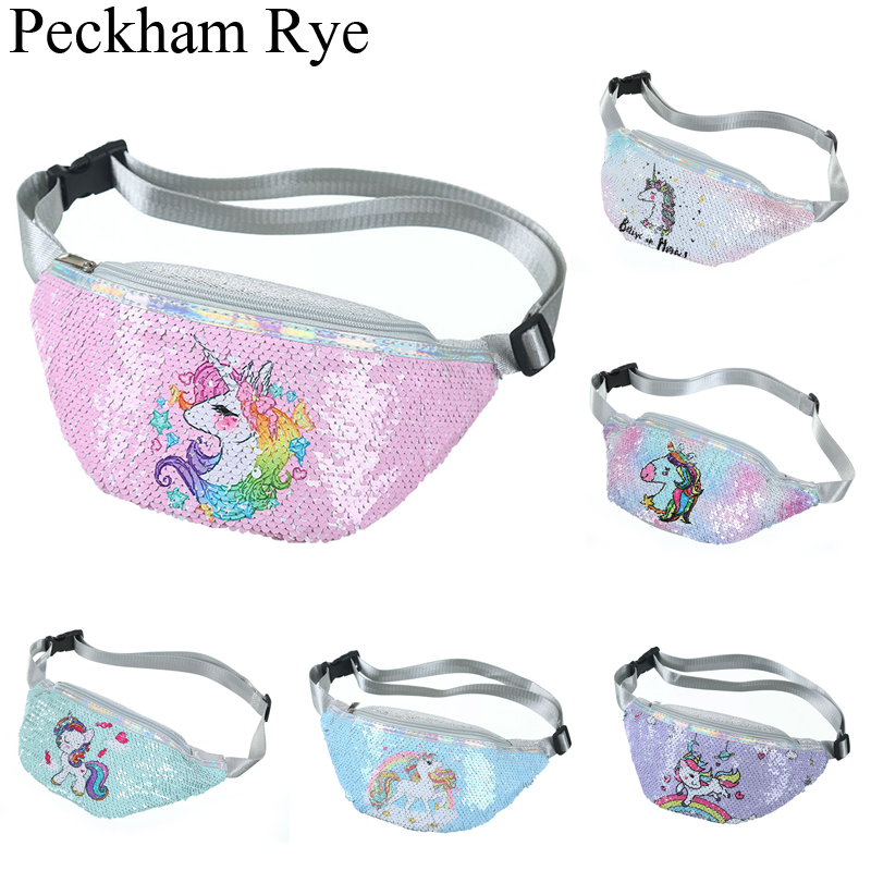 New Women Girls Unicorn Waist Fanny Pack Belt Bag Chest Pouch Hip Bum Bag Small Purse Paillette Crossbody Gift Wallet Travelling
