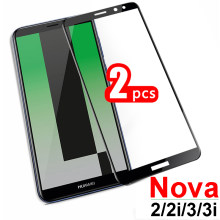 2pcs Nova 3 3i 2 2i glass on for huawei nova3 nova2 i armored screen protector nova3i nova2i protective temepered novo huavei(China)