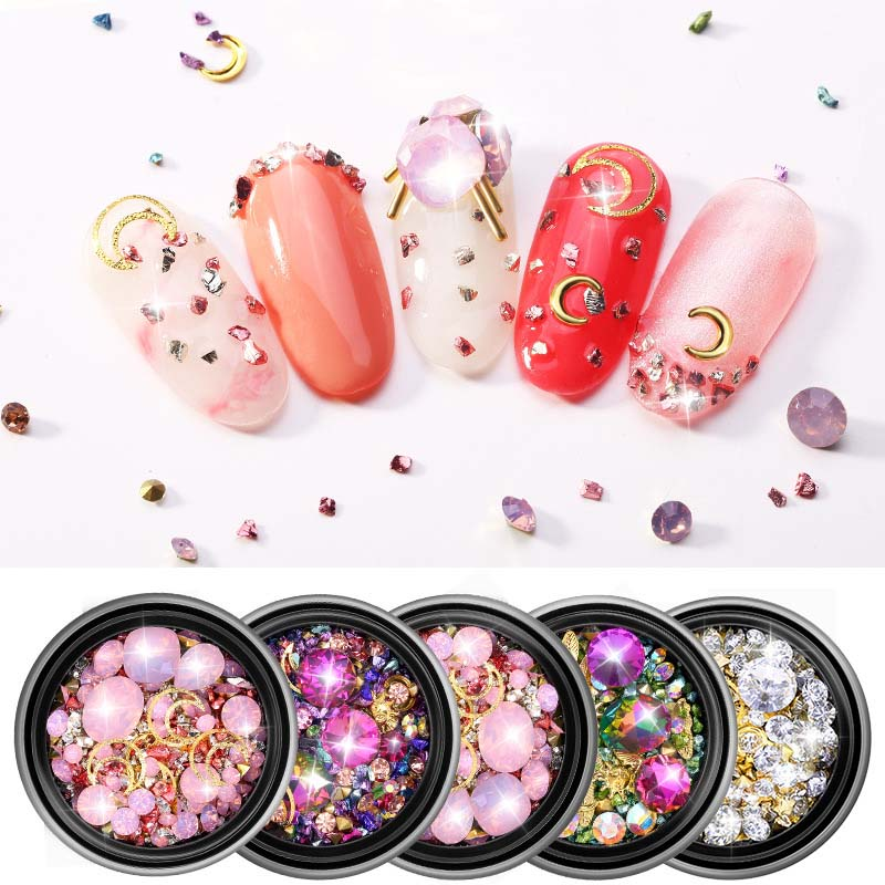 1 Box Mini Bubble Ball Beads Bottom Colorful  Crystal Glass  Diamond Ornaments Beads For DIY UV Resin Filling 3D Nail Art Decora