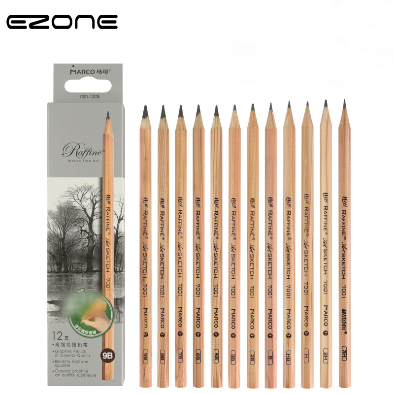 EZONE 1PC Wooden Pencils 3H/2H/H/B/2B/3B/4B/5B/6B/7B/8B/9B Pencils Art Students Painting Sketch Pencil School Office Supply