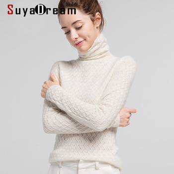 SuyaDream Women Pullover 100%Cashmere Sweater For Women Computer Knits 2020 Fall Winter Turtleneck Sweaters Bottoming Knitwear winter knits made easy
