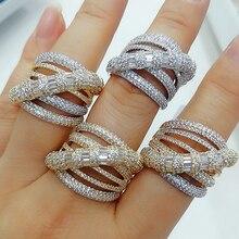 Godki luxo crossover design negrito anéis de afirmação com zircônia pedras 2020 feminino festa de noivado jóias alta qualidade