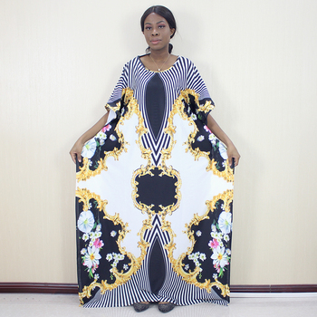 2019 African Printed Plus Size Casual Dresses For Women Elegant O Neck Fashion Autumn Mama Dress