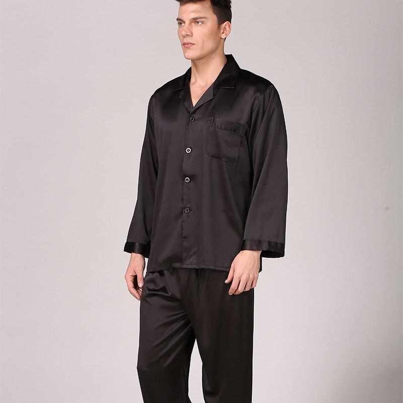 Men's Pure Black Nightwear Long Sleeve Pajamas Sleeping Suits For Men Housewear Silk Pajamas For Men Sleepwear Mens Pajama Set