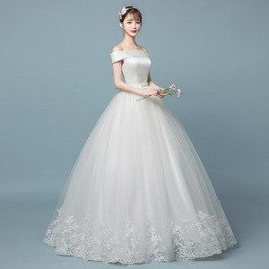 Image 1 - Boat neck Lace Wedding Dress 2019 New Fashion Floral Print Princess Dream Bride off the shoulder Korean vestido de noiva