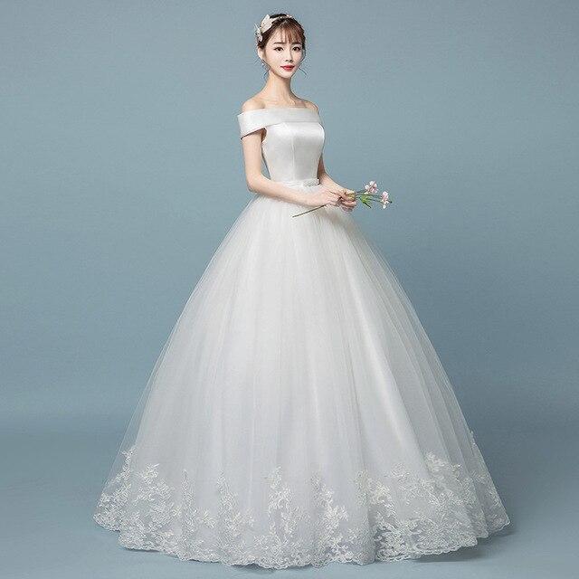 Robe de mariée en dentelle à col bateau 2019 nouvelle mode imprimé Floral princesse mariée de rêve hors de lépaule vestido de noiva coréen