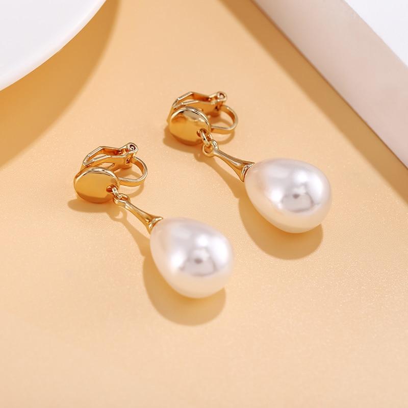 Элегантные серьги-клипсы в форме капли с простым жемчугом, Очаровательные Подвески с искусственным жемчугом, геометрические, не проколотые...