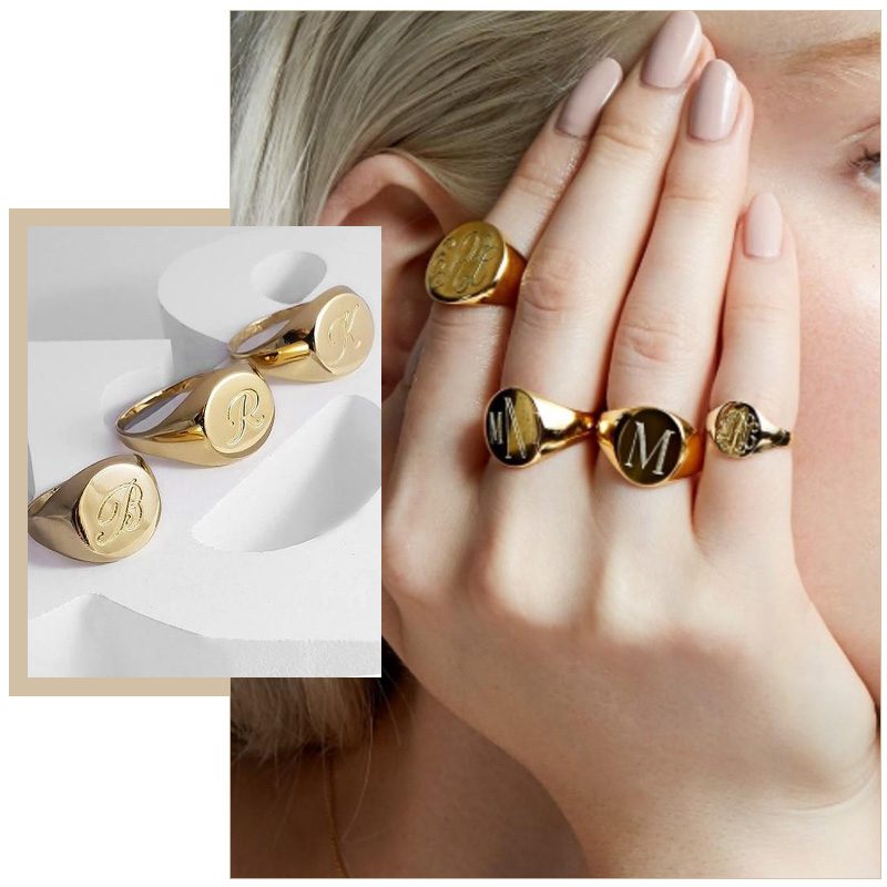 Chic Customized Women Signet Ring Chunky Round Top Stamp Band Glossy Stainless Steel Punk Candid Fashion Jewelry