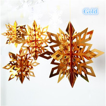 Large 6pcs Frozen Party Supplies Silver Snowflake Shape Paper Garland Christmas Wedding Decoration Scene New Year Decor(China)