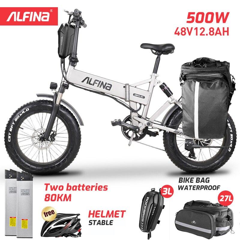 Алфина FX-21 новый электрический велосипед складной горный велосипед на снегу 20 дюймов 4,0 жира шины электровелосипеда пляжные Bicicleta Eletrica 500W 40 ...