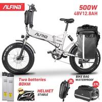 ALFINA New electric bicycle snow mountain electric bike 20inch 4.0 fat tire ebike beach bicicleta eletrica  500W 40KM