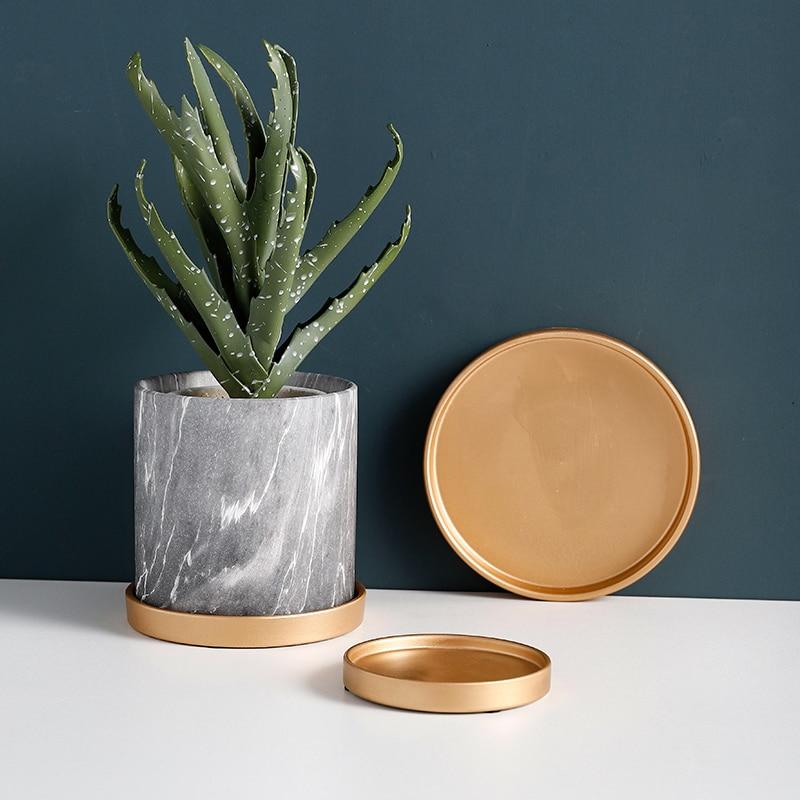 Поднос для цветочной вазы, поднос для кастрюль, керамический поднос для еды, золотое, черное, белое украшение-2