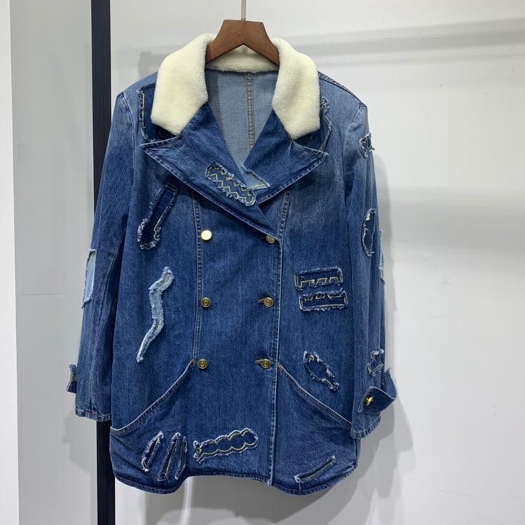 Women high quality fur collar denim jackets 2019 autumn brand new embroidery coat B093