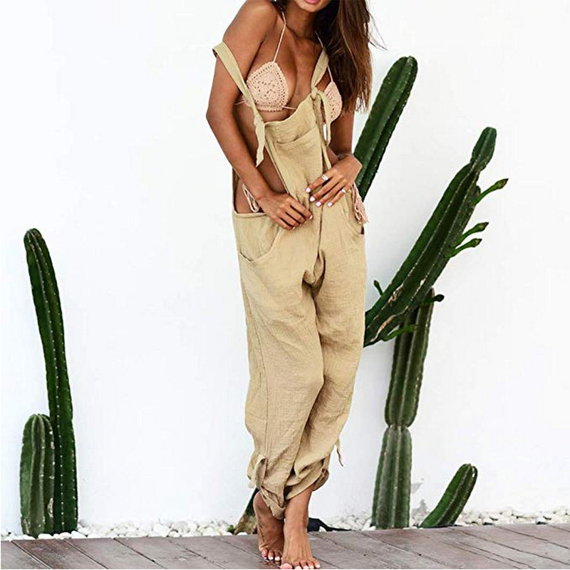 2020 Autumn Womens Trousers Sleeveless Solid Color Overall Strappy Pocket Jumpsuit Fashion Baggy Romper Bib Loose Trousers Hot