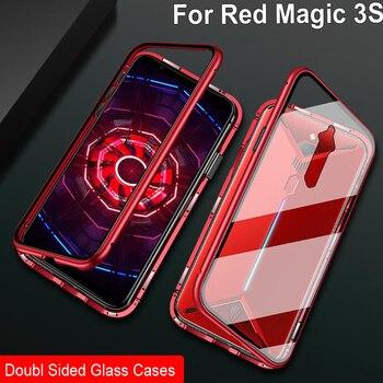 Перейти на Алиэкспресс и купить Чехол с магнитной адсорбцией для zte Nubia Red Magic 3 S 3 S металлическая рамка Doubl боковая стеклянная крышка Redmagic3 S защитный чехол для телефона