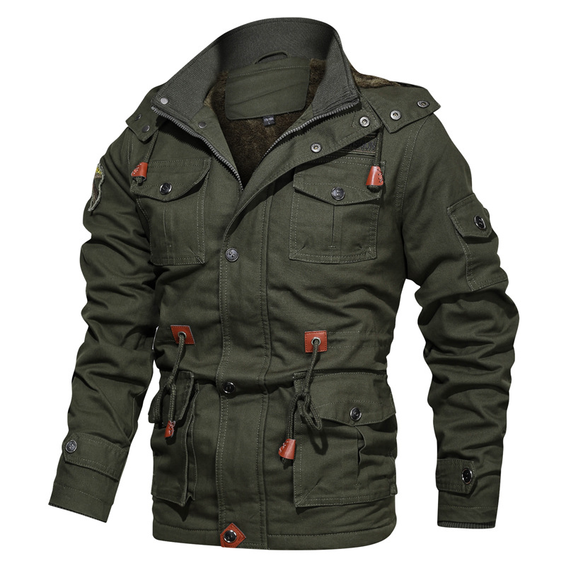 Mens Outerwear Bomber-Jackets Fleece Coats Windbreaker Casual Cotton Military Warm