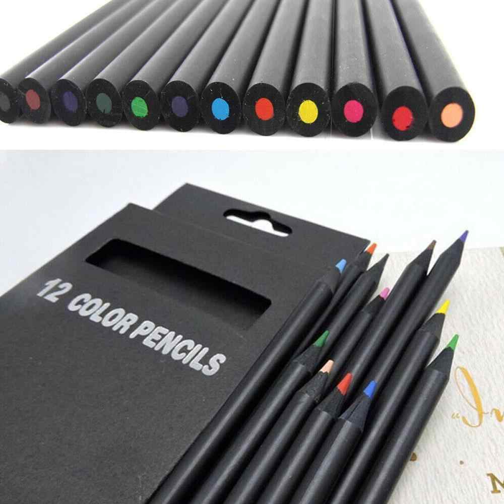 12 יח'\סט פחם עיפרון צבעוני סקיצה ציור שרטוט עיפרון עבור אמנות ספר סטנדרטי עפרונות ילדי מתנה