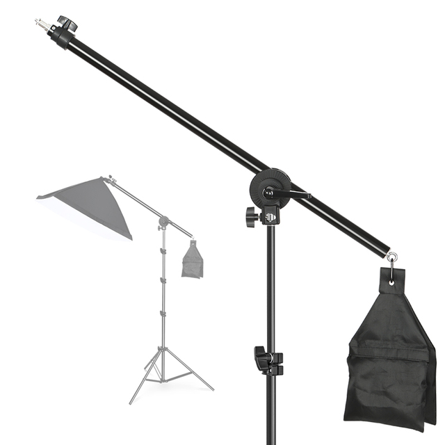 Photo Studio Adjustable Cantilever Stand Cross Arm With Sand Bag Pivot Clamp Use For Light Stand Accessories Extension Rod 135CM