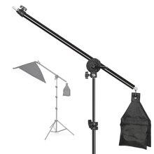 Photo studio ajustável cantilever suporte cruz braço com saco de areia pivô braçadeira uso para suporte de luz acessórios haste extensão 135cm