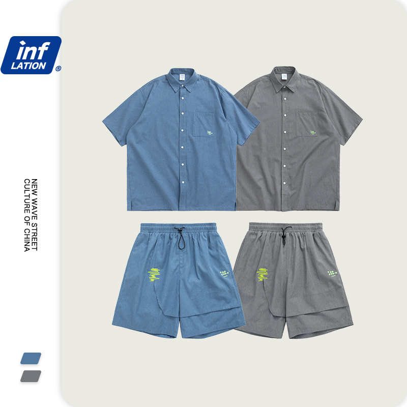 INFLATION Design Mens Fashions Short Sleeve Shirt & Men Shorter Shorts With Elastic Waist In Blue And Grey Streetwear Suit