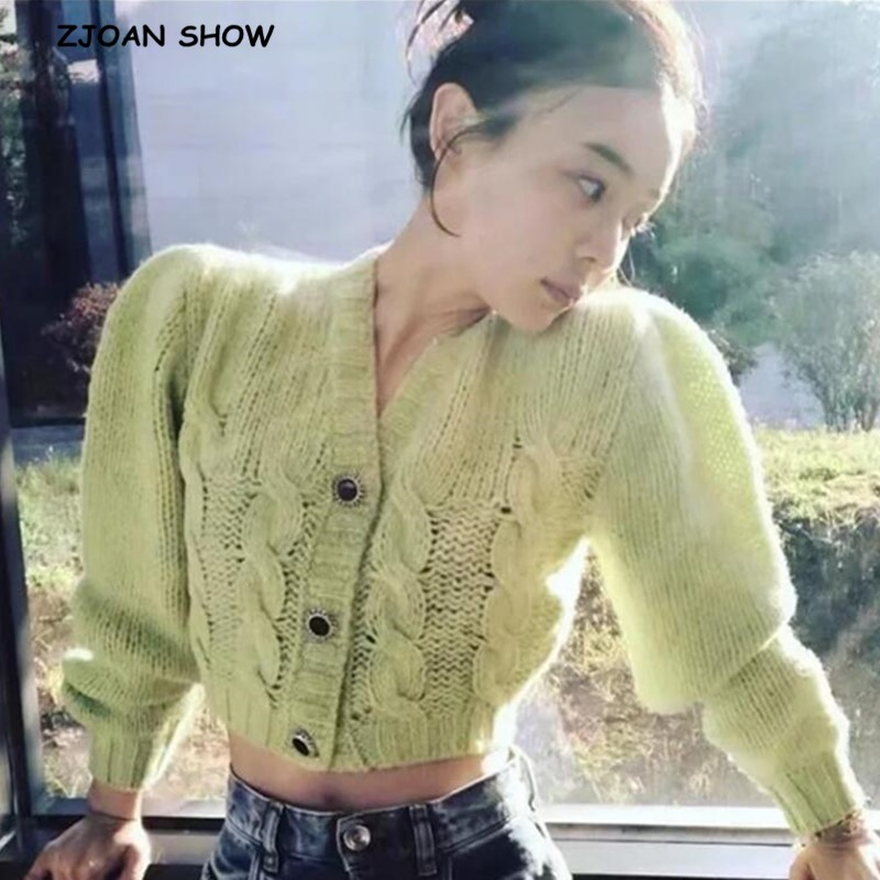 2020 Spring Korea Style Vintage Twist Knitting Cardigan Sweater Fluorescent Green V Neck Single-breasted Button Short Jumper